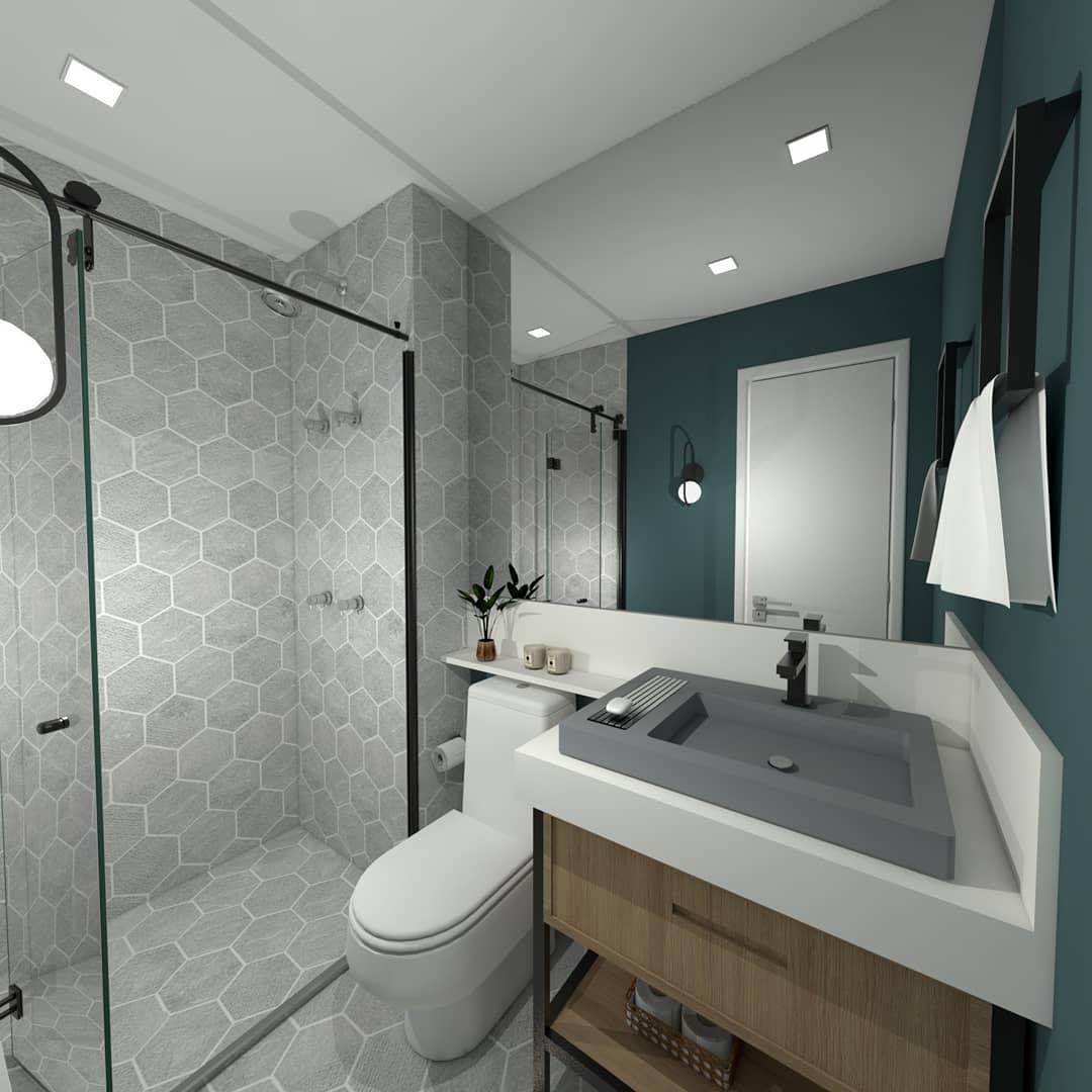 banheiro verde escuro e branco