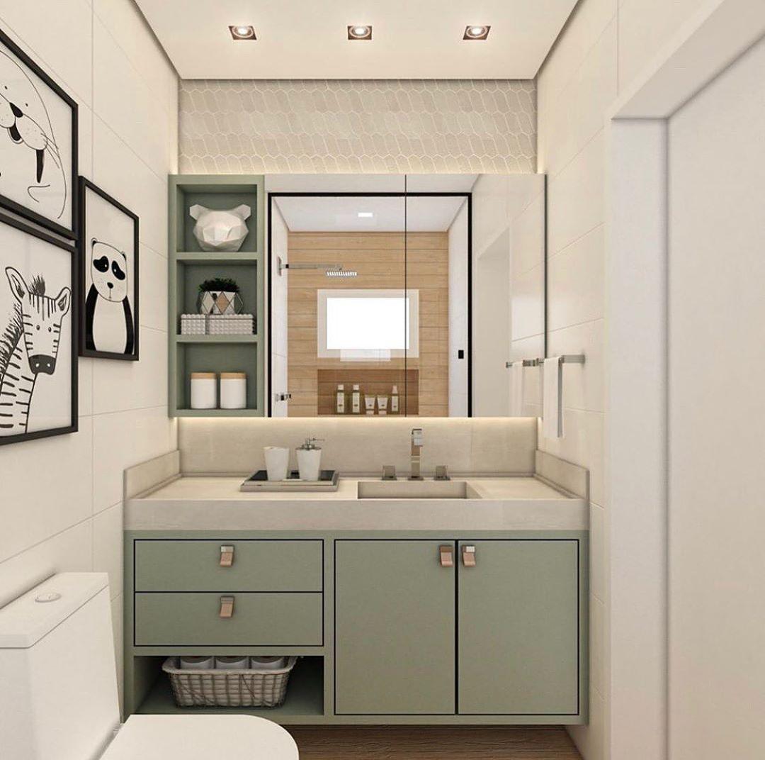 banheiro infantil verde claro e branco moderno