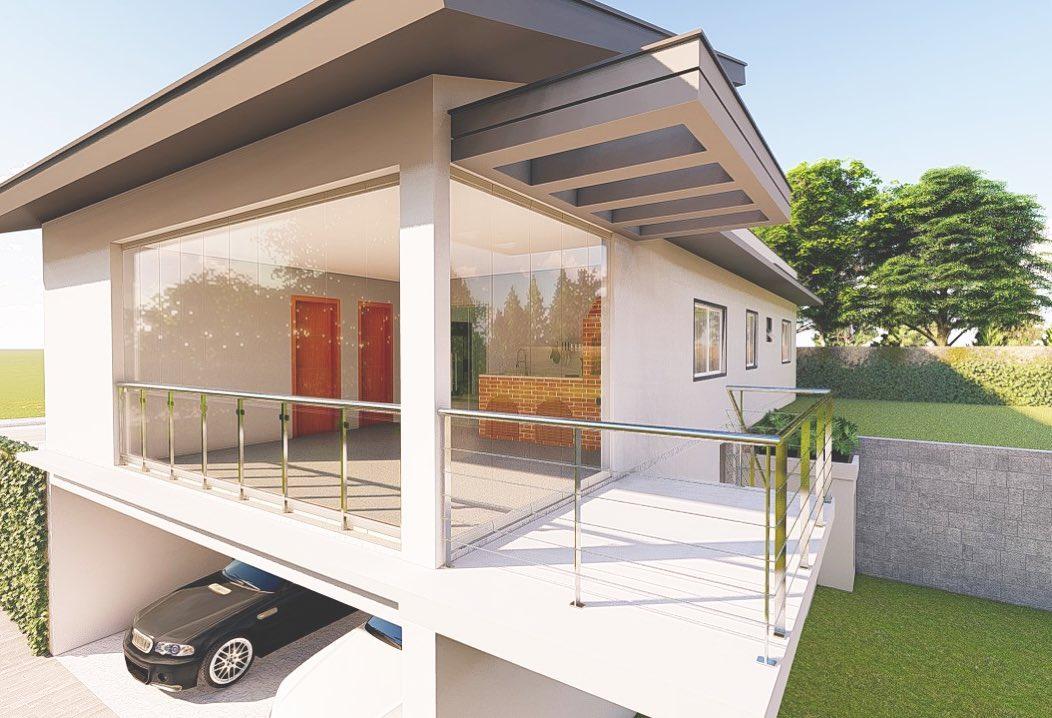 pergolado de concreto fachada casa