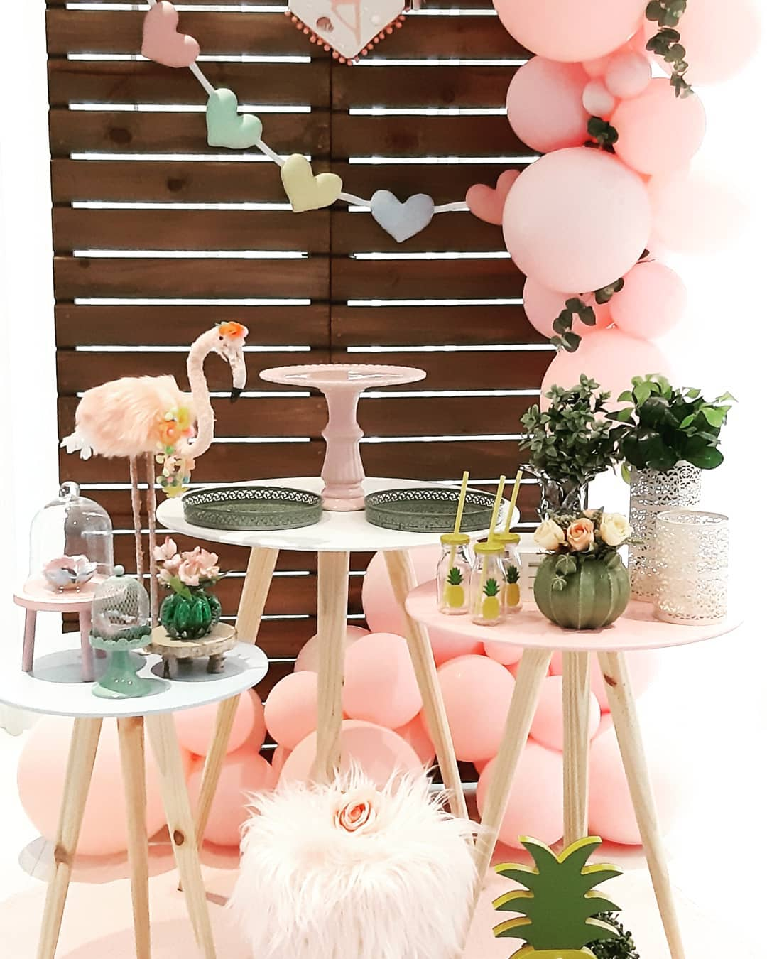 festa flamingo delicada em tons pasteis
