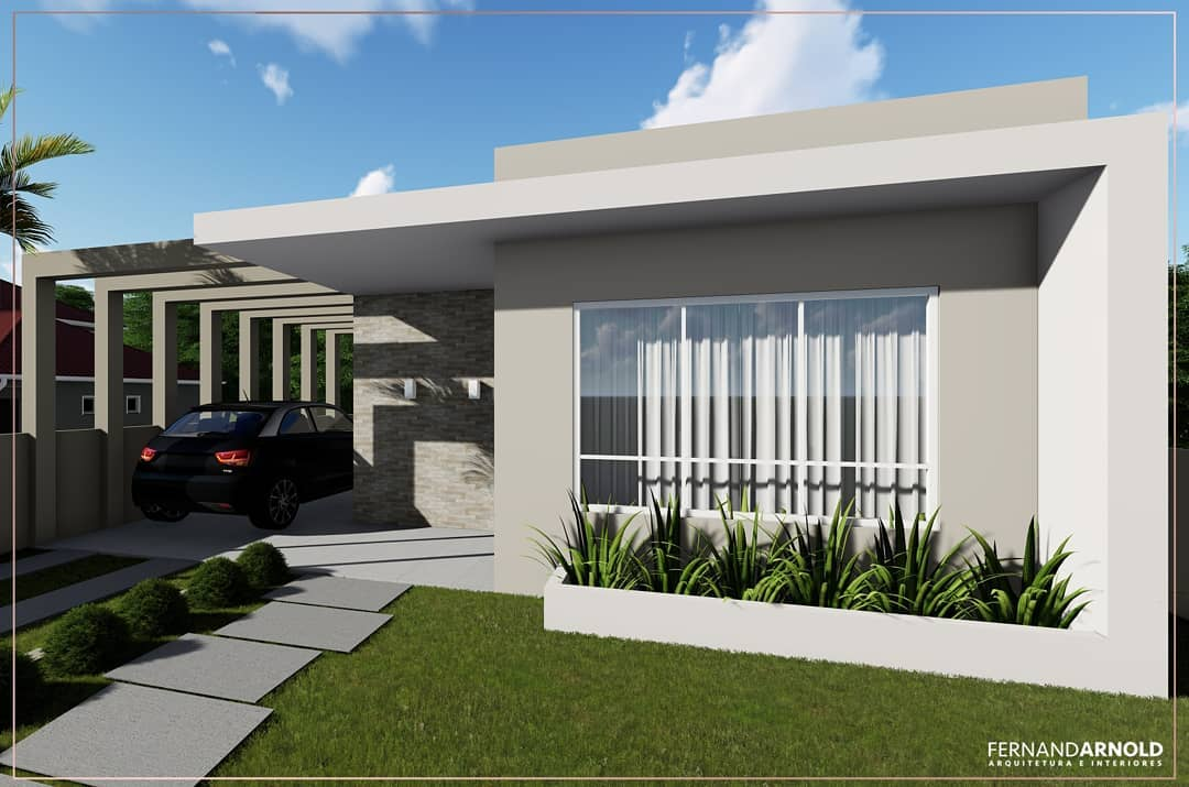 pergolado de concreto fachada de casa