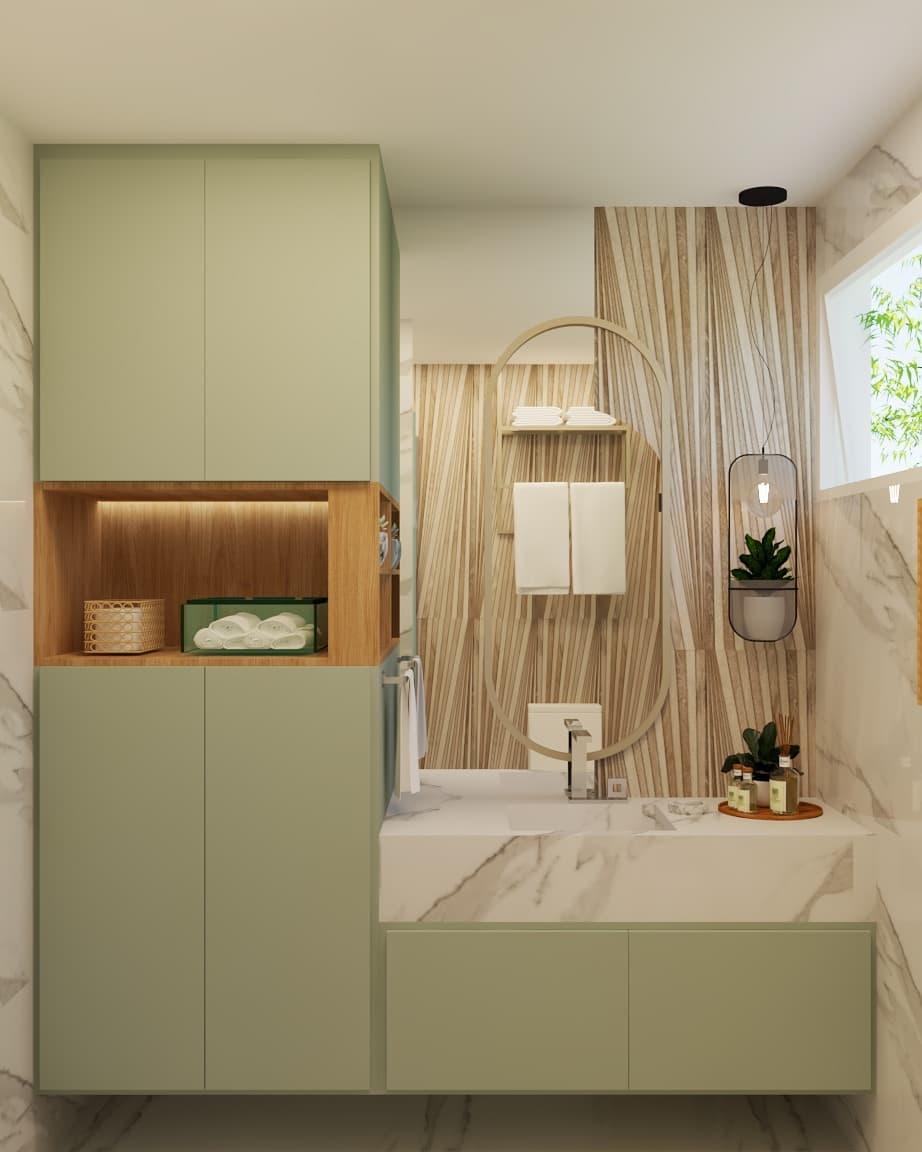 banheiro verde e amadeirado