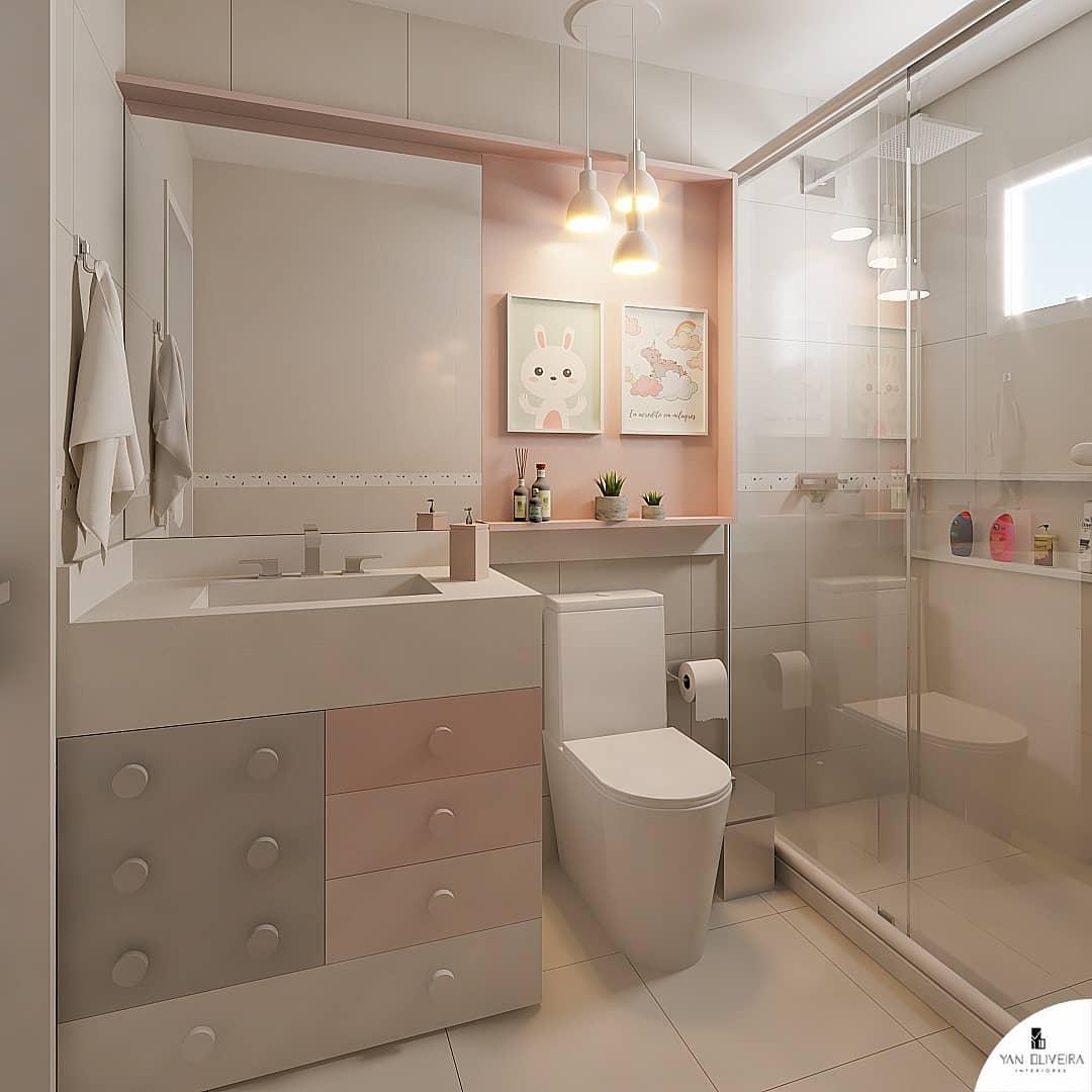 banheiro rosa e cinza infantil