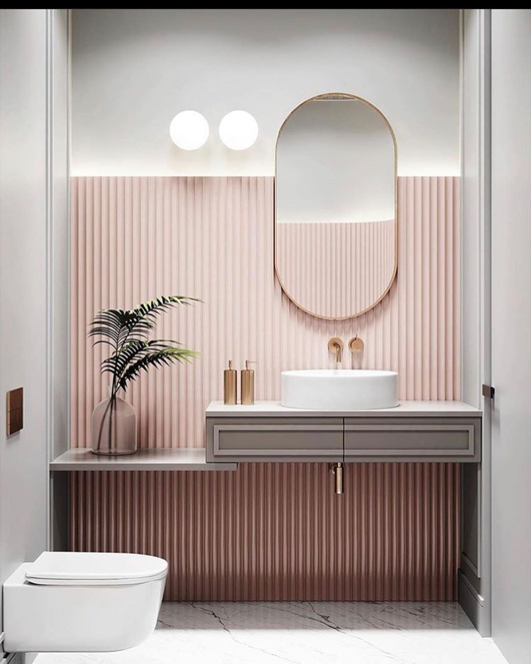 banheiro rosa moderno