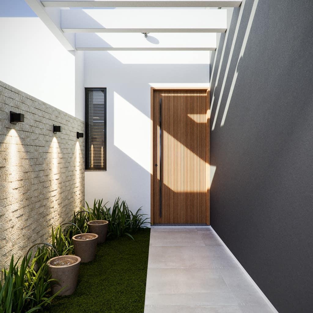 pergolado de concreto em corredor externo