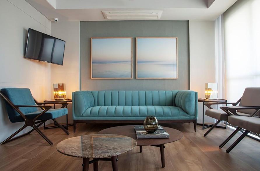 sofa azul turquesa moderno