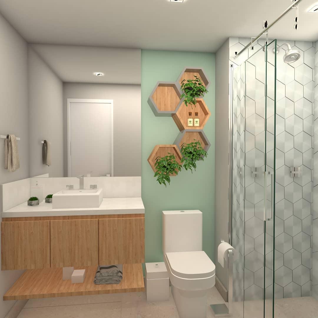 banheiro verde claro e amadeirado