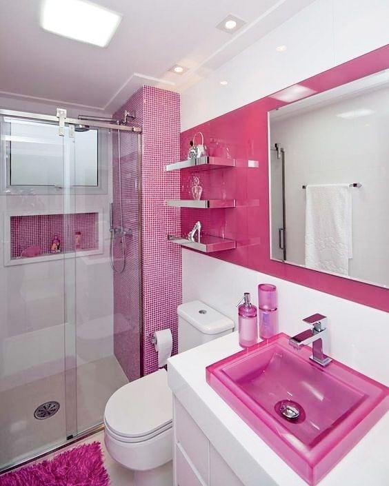 banheiro rosa pink