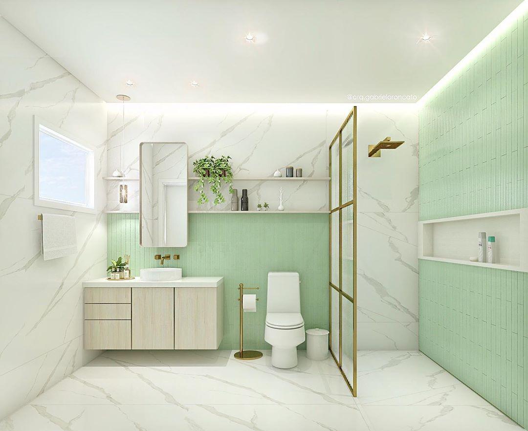 banheiro verde claro e branco