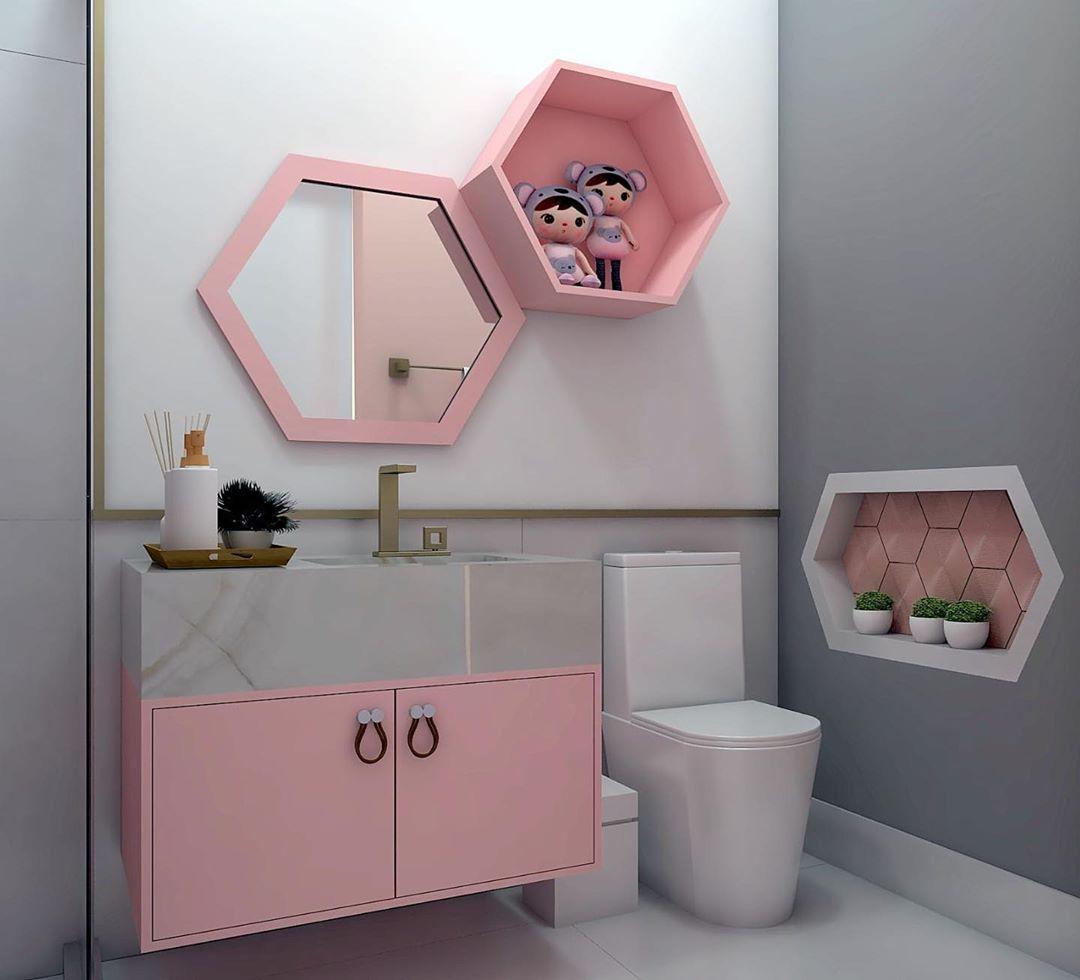 banheiro infantil rosa