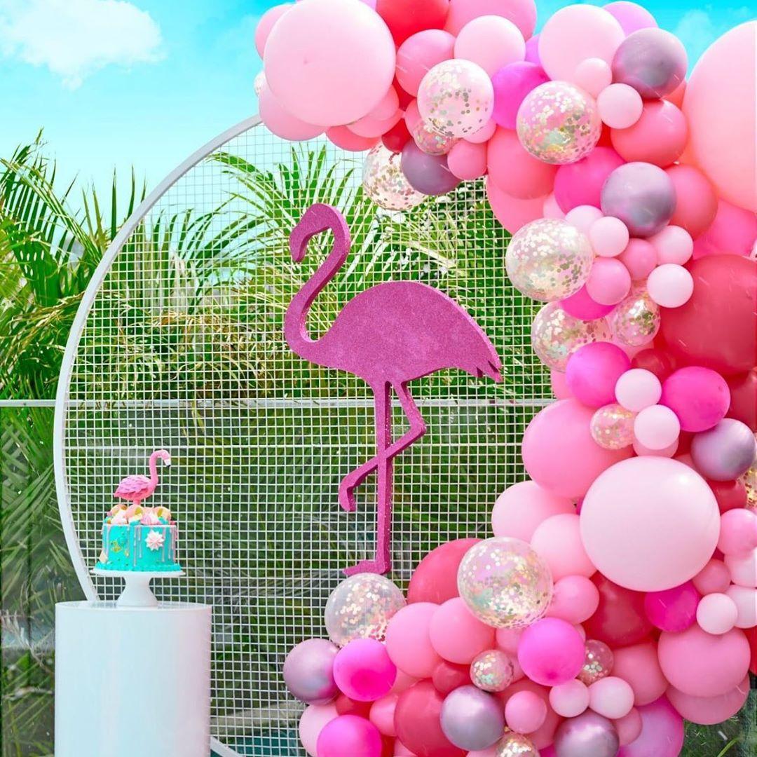 festa flamingo painel baloes