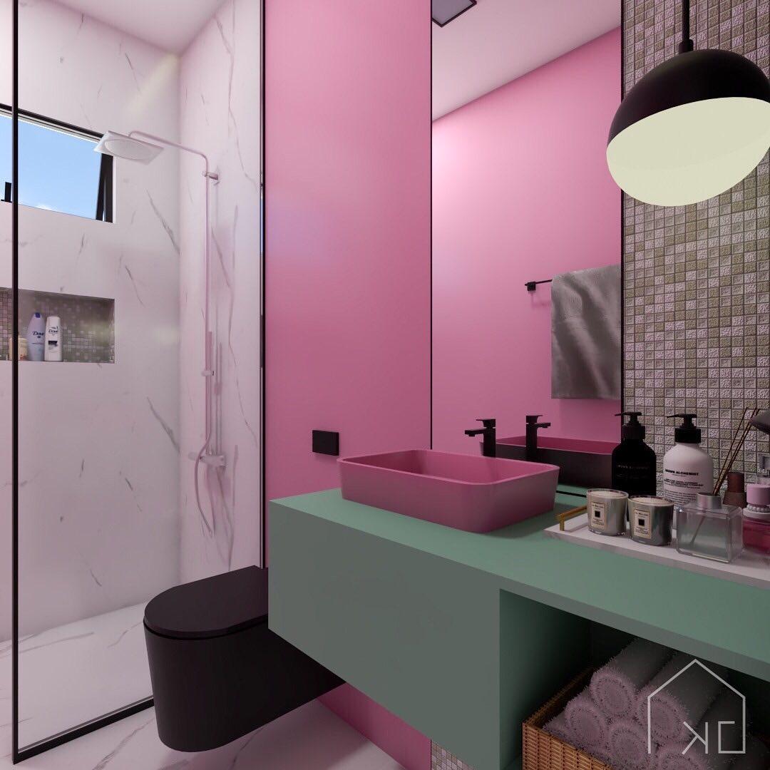 banheiro rosa pink e preto