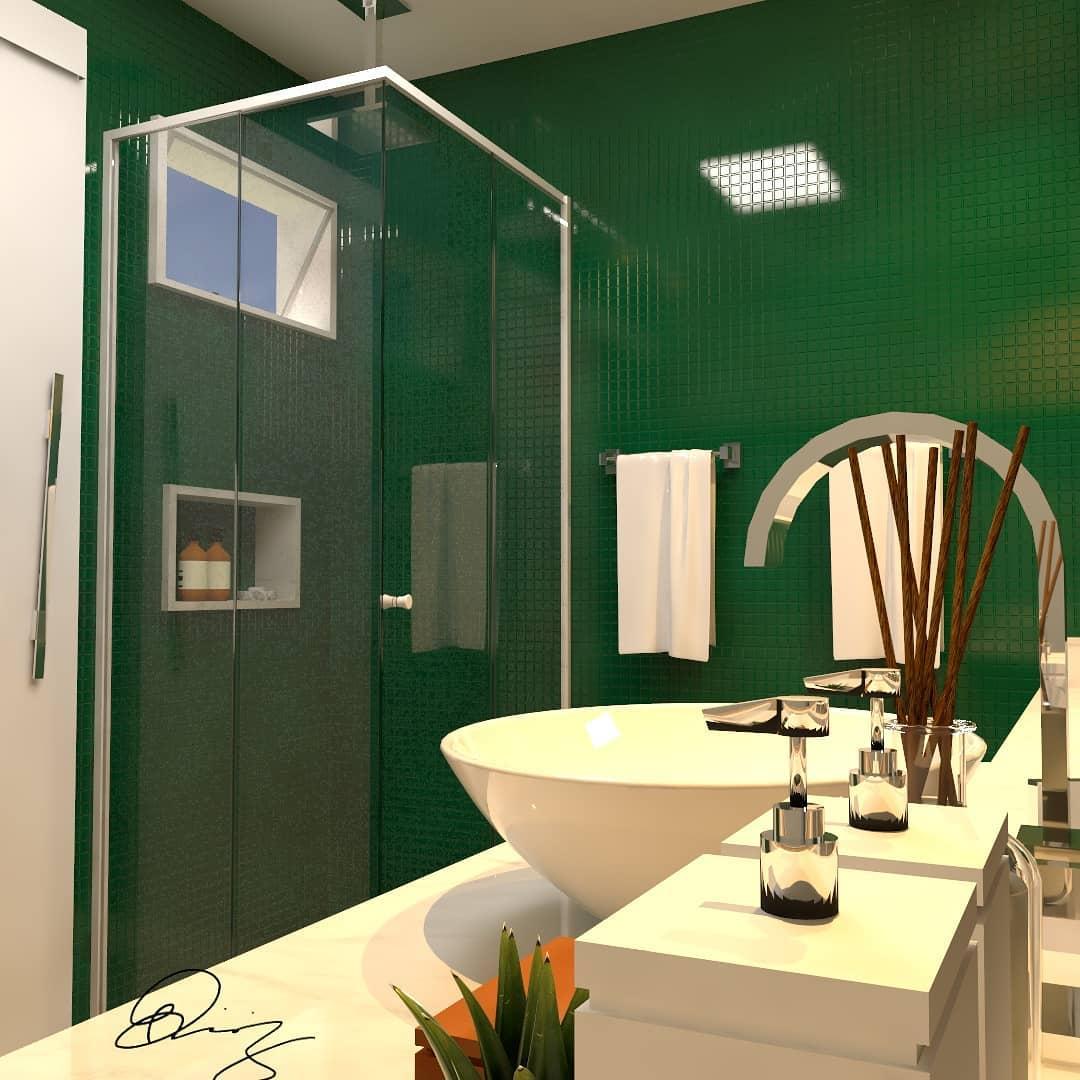 banheiro com pastilha verde escuro