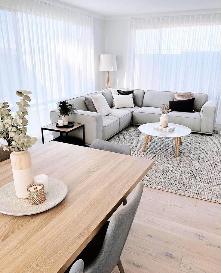 sofa em L cinza claro estilo escandinavo
