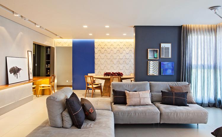 sofa cinza despojado em L