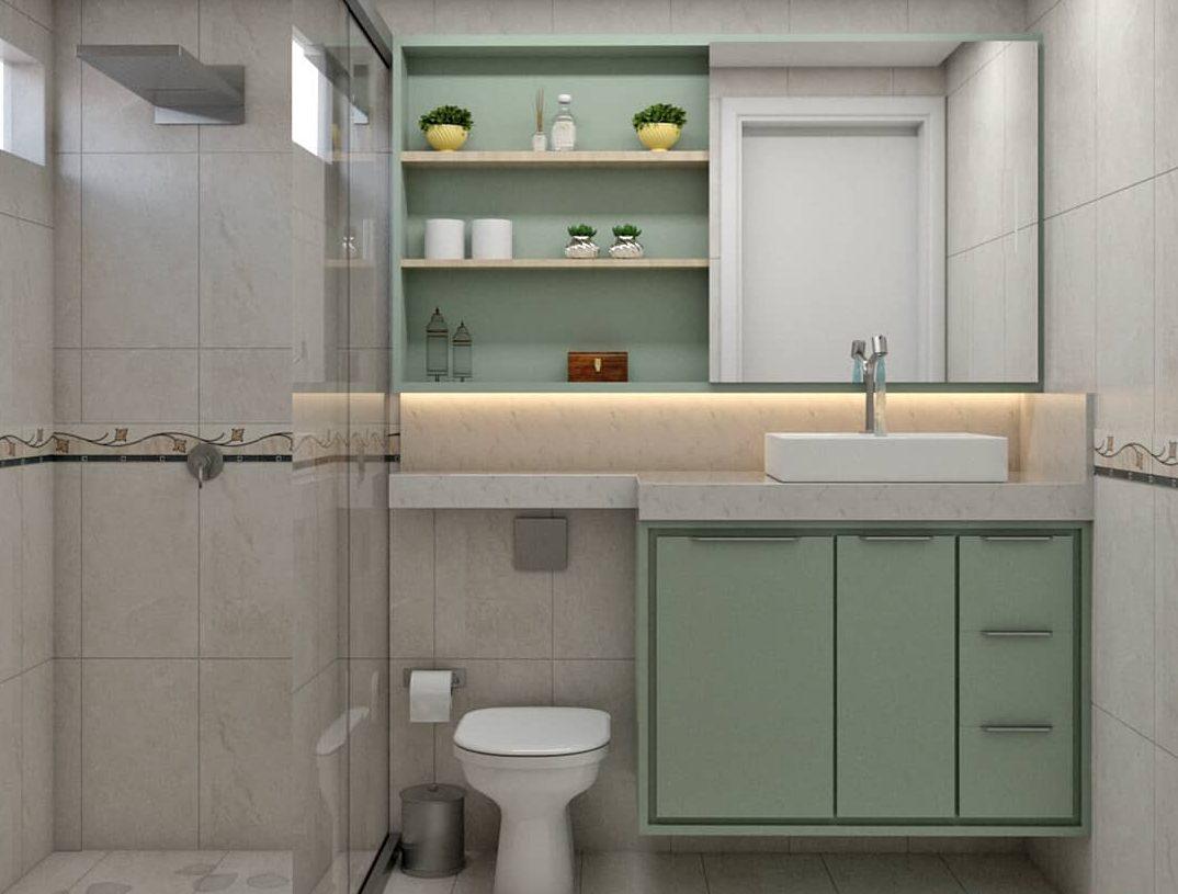 banheiro verde e branco pequeno