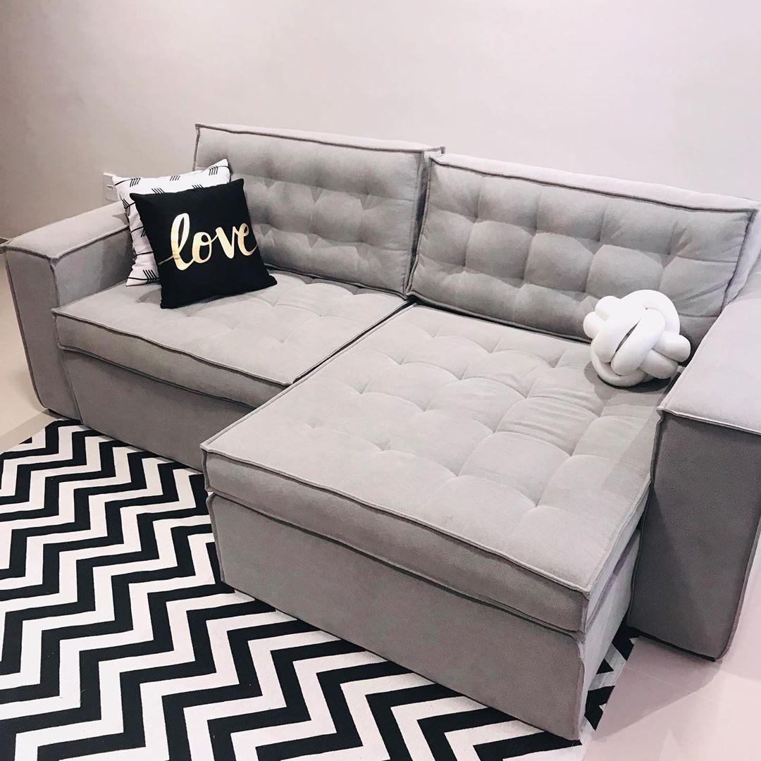 sofa cinza com chaise