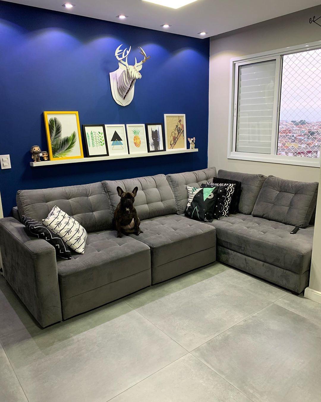 sofa de canto cinza retratil