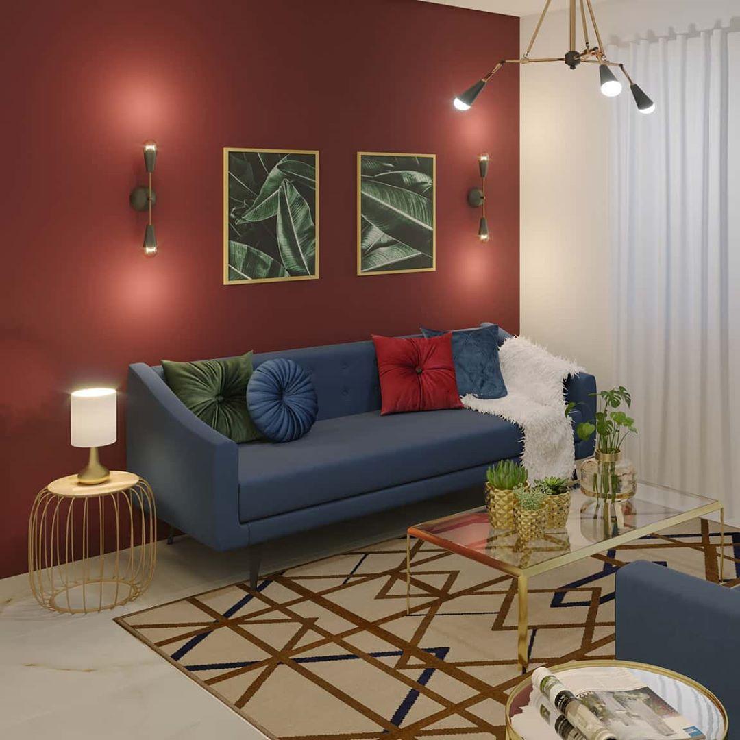 como combinar sofa azul