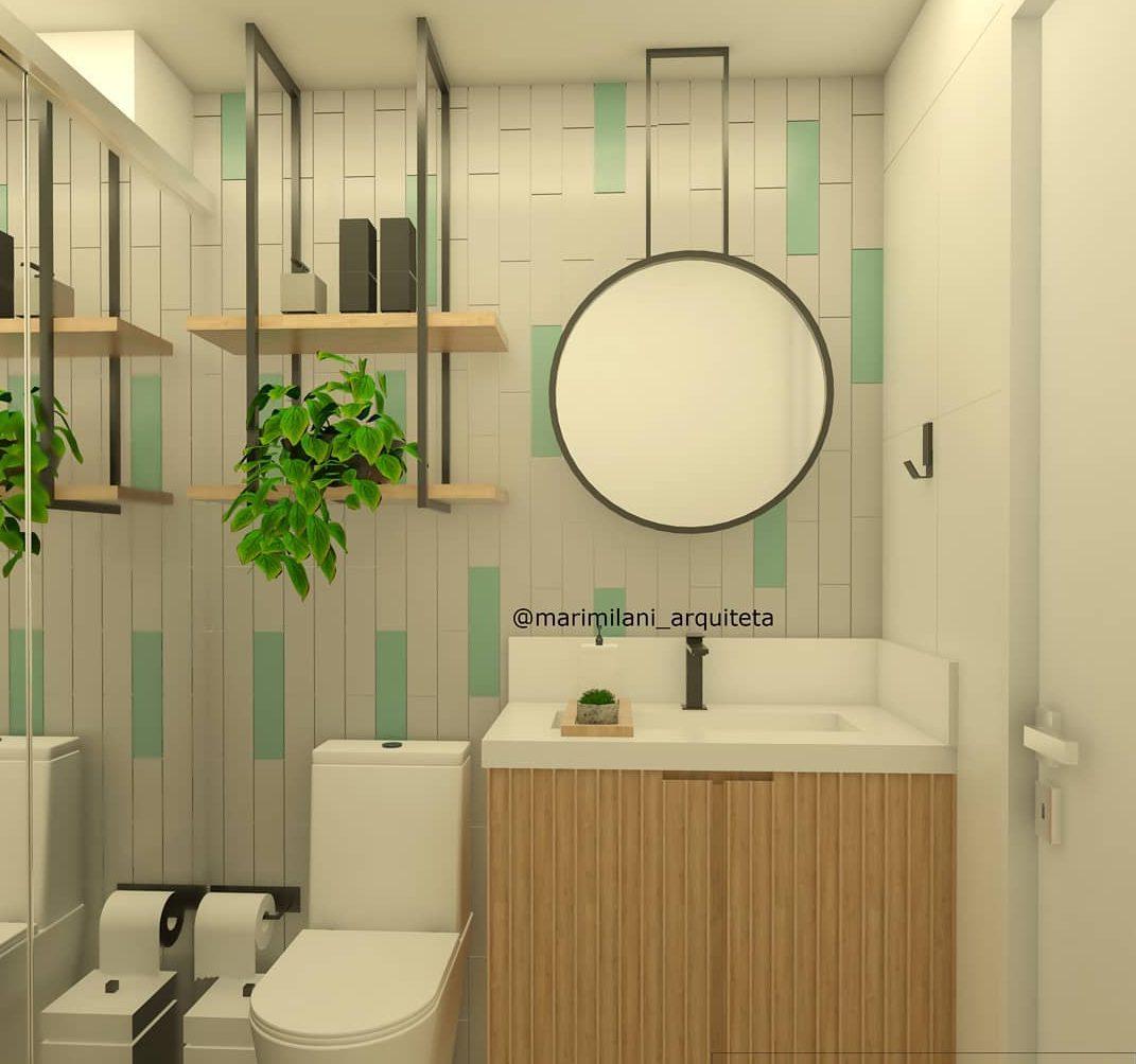banheiro verde com branco e amadeirado