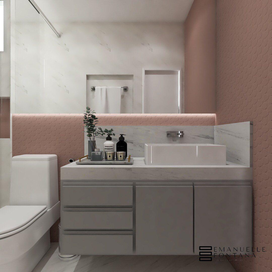 banheiro rosa com cinza
