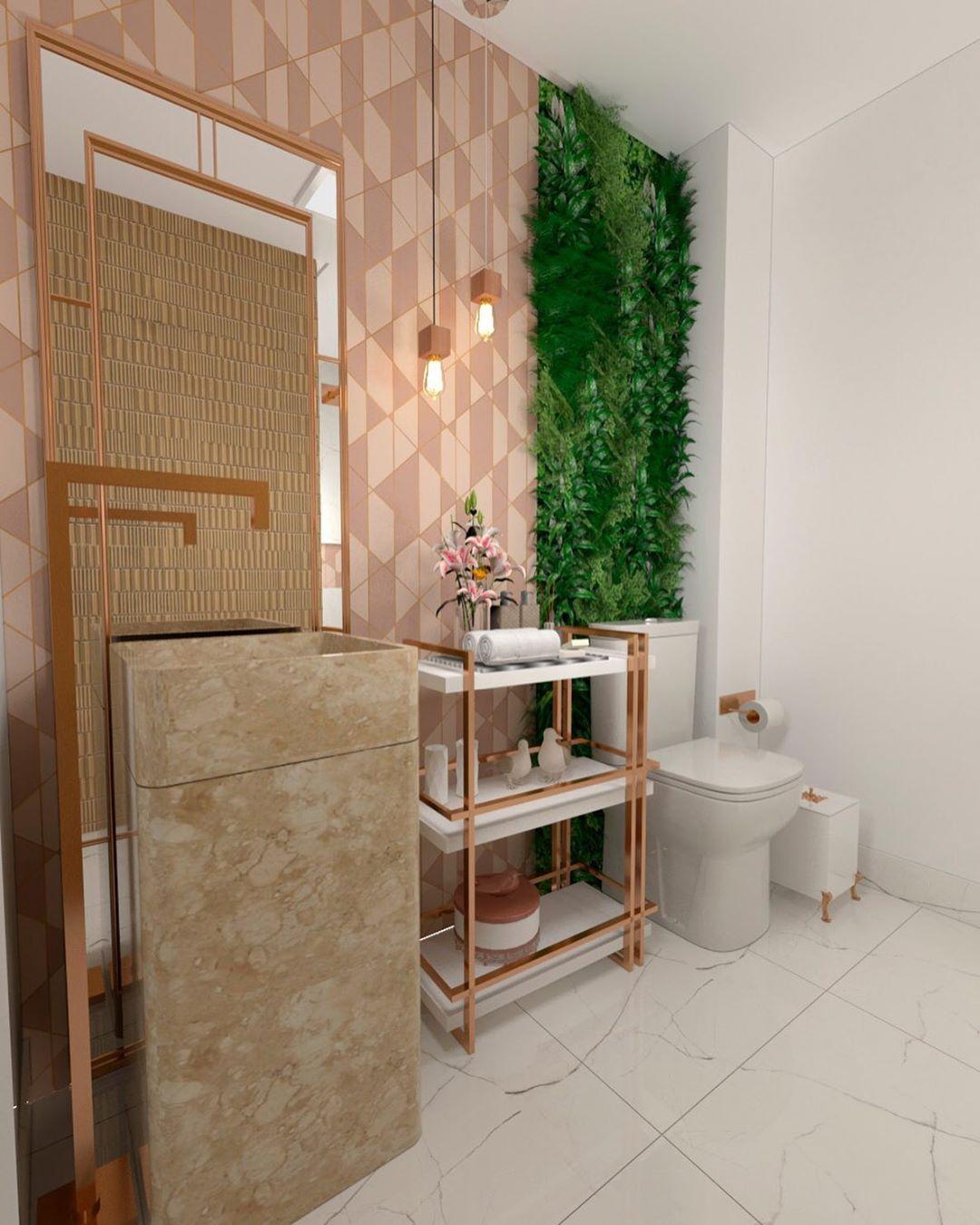 banheiro com revestimento rosa moderno