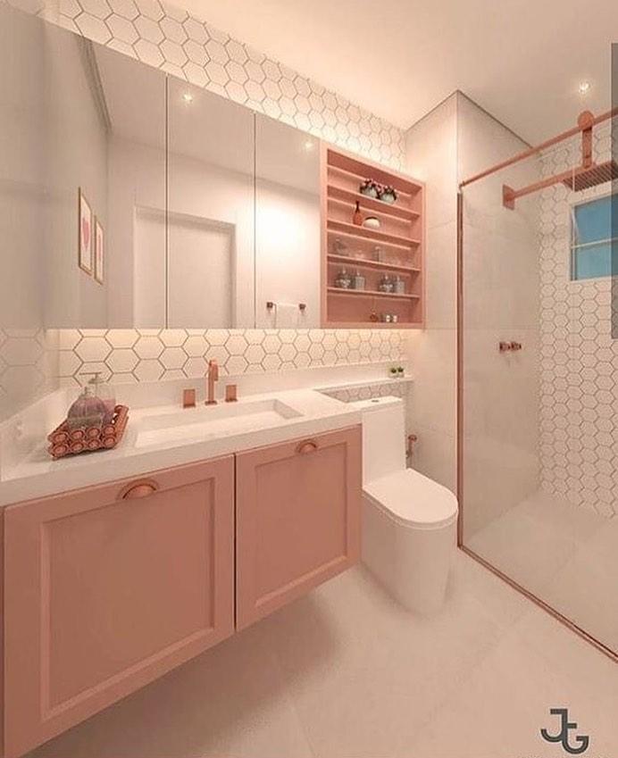 banheiro rosa com branco