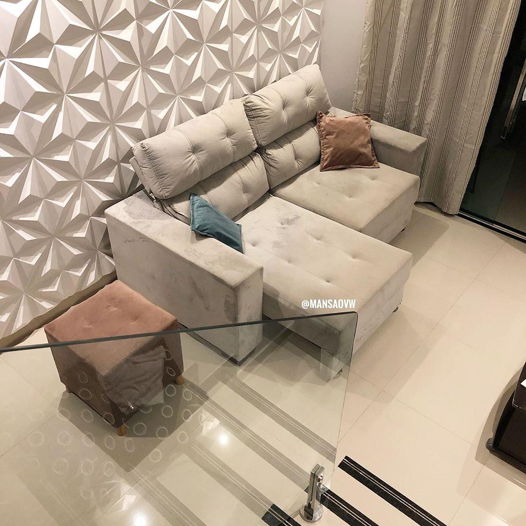 sofa retratil cinza claro
