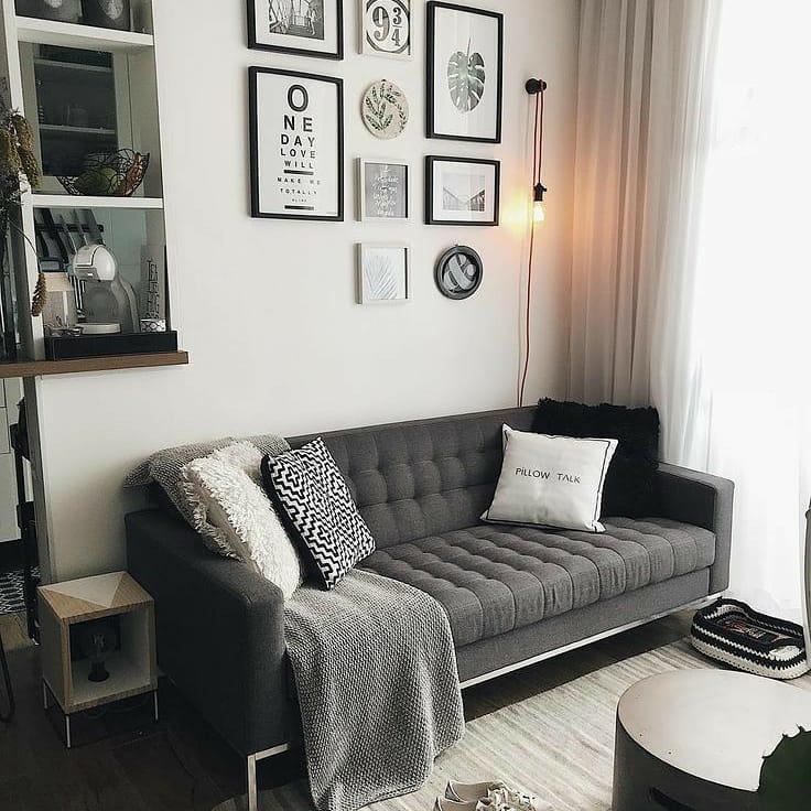 sofa cinza chumbo de linho minimalista