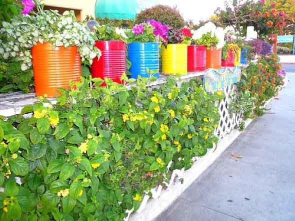 jardim simples com materiais reciclaveis
