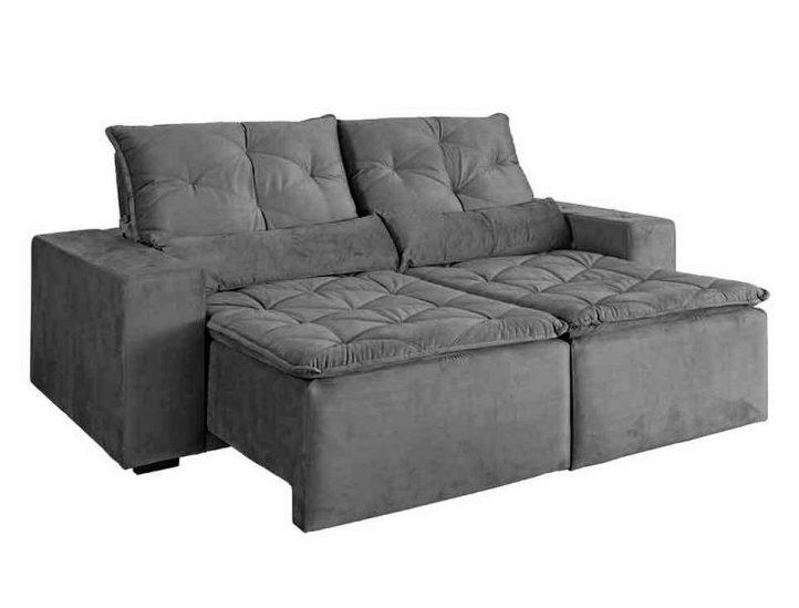 sofa cinza retratil veludo