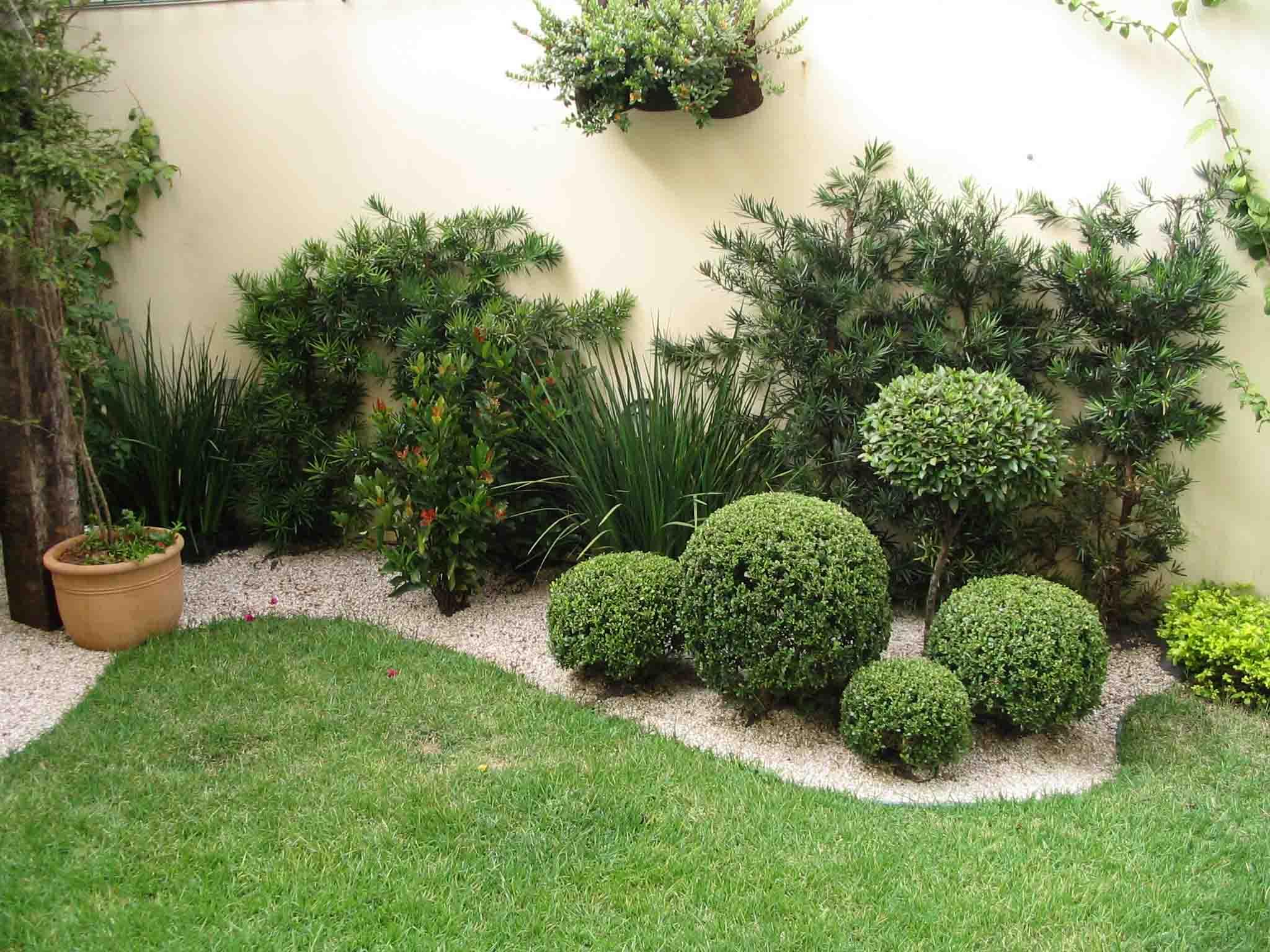 jardim simples com pedras e arbustos