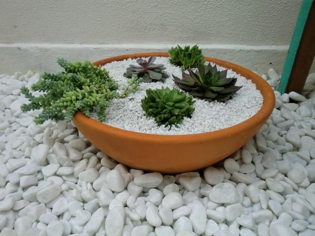pequeno jardim com pedras dolomitas brancas