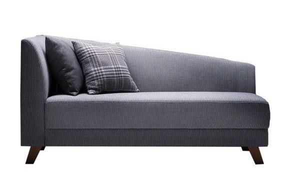 sofa cinza pequeno recamier