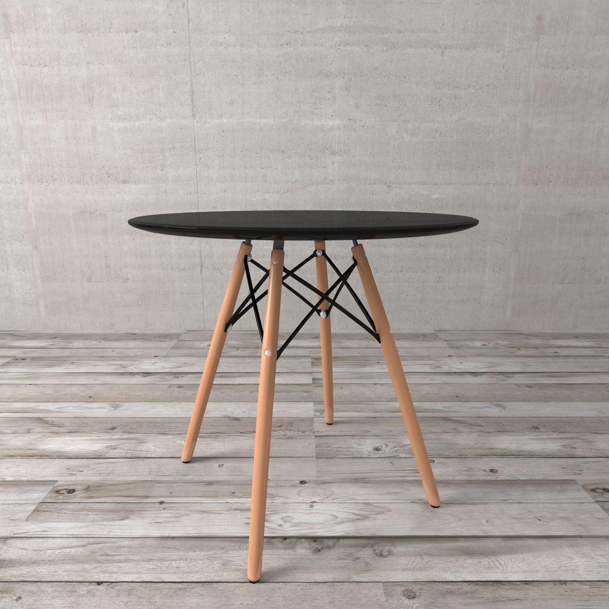 mesa jantar redonda pequena preta design