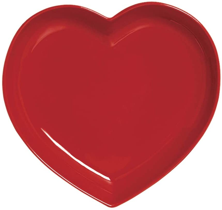 prato formato coração vermelho