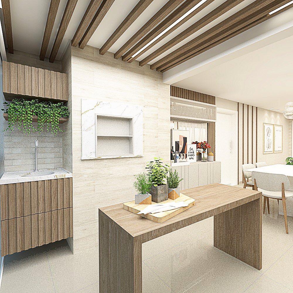 varanda com churrasqueira em madeira e branco