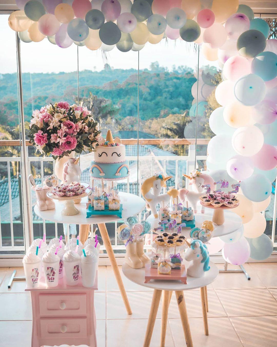 decoração festa unicornio delicada