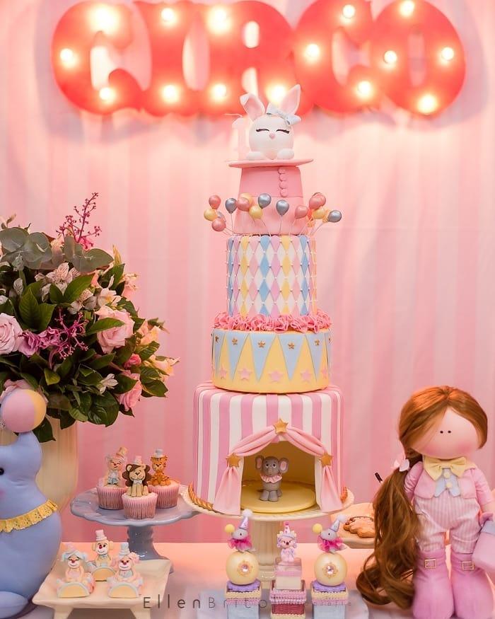 bolo festa circo rosa