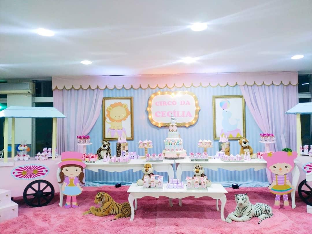 decoração vintage festa circo rosa