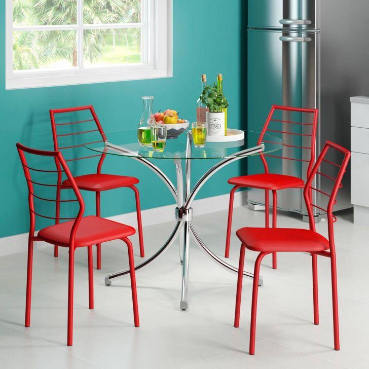 conjunto de mesa de jantar redonda em vidro + 4 cadeiras