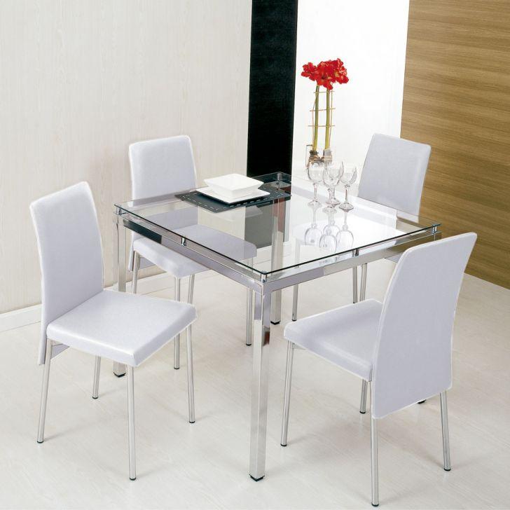 conjunto de mesa de vidro + 4 cadeiras pequeno