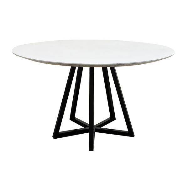 mesa jantar redonda com estrtura de ferro preto
