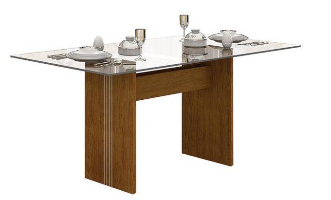 mesa de jantar de vidro retangular com base em madeira
