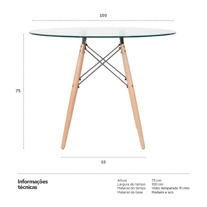mesa de jantar em vidro em base de madeira