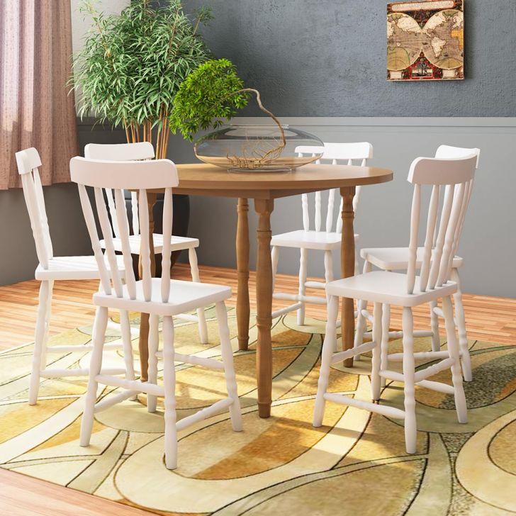 conjunto de mesa de jantar redonda + 4 cadeiras em madeira