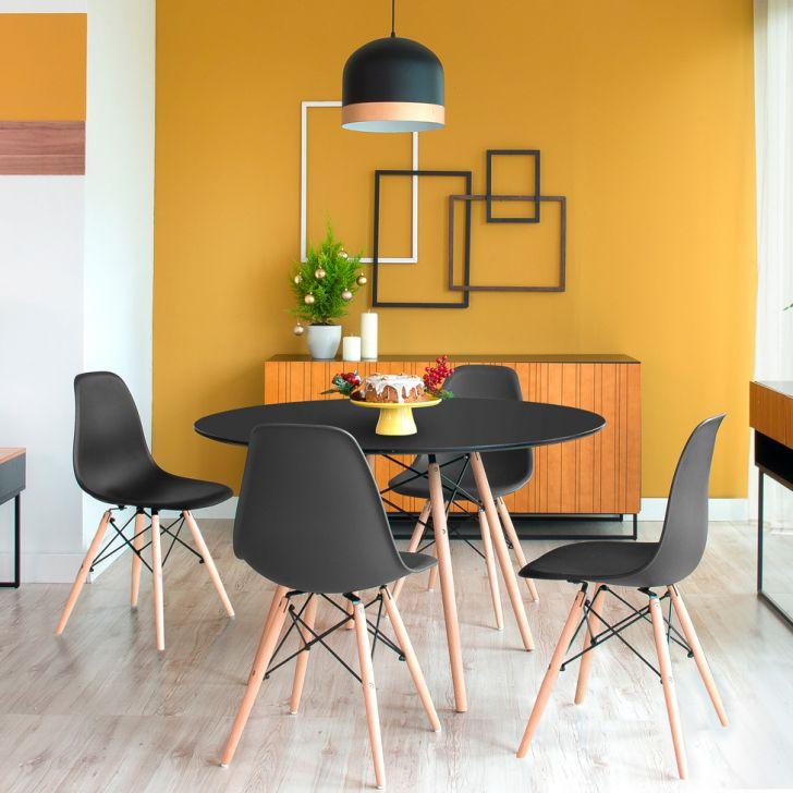 Conjunto-de-Mesa-de-Jantar-redonda-com-4-Cadeiras preto