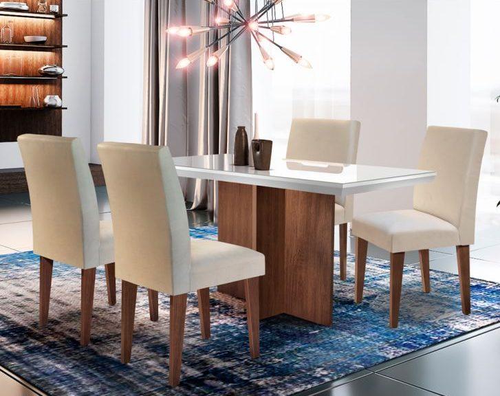 conjunto de mesa de vidro + 4 cadeiras estofadas
