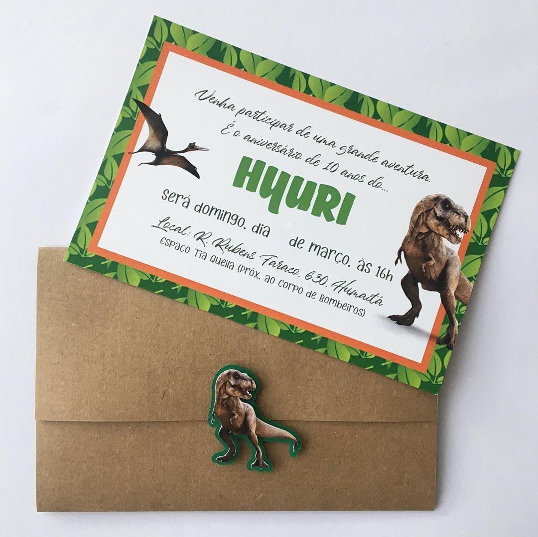 convite festa dinossauro