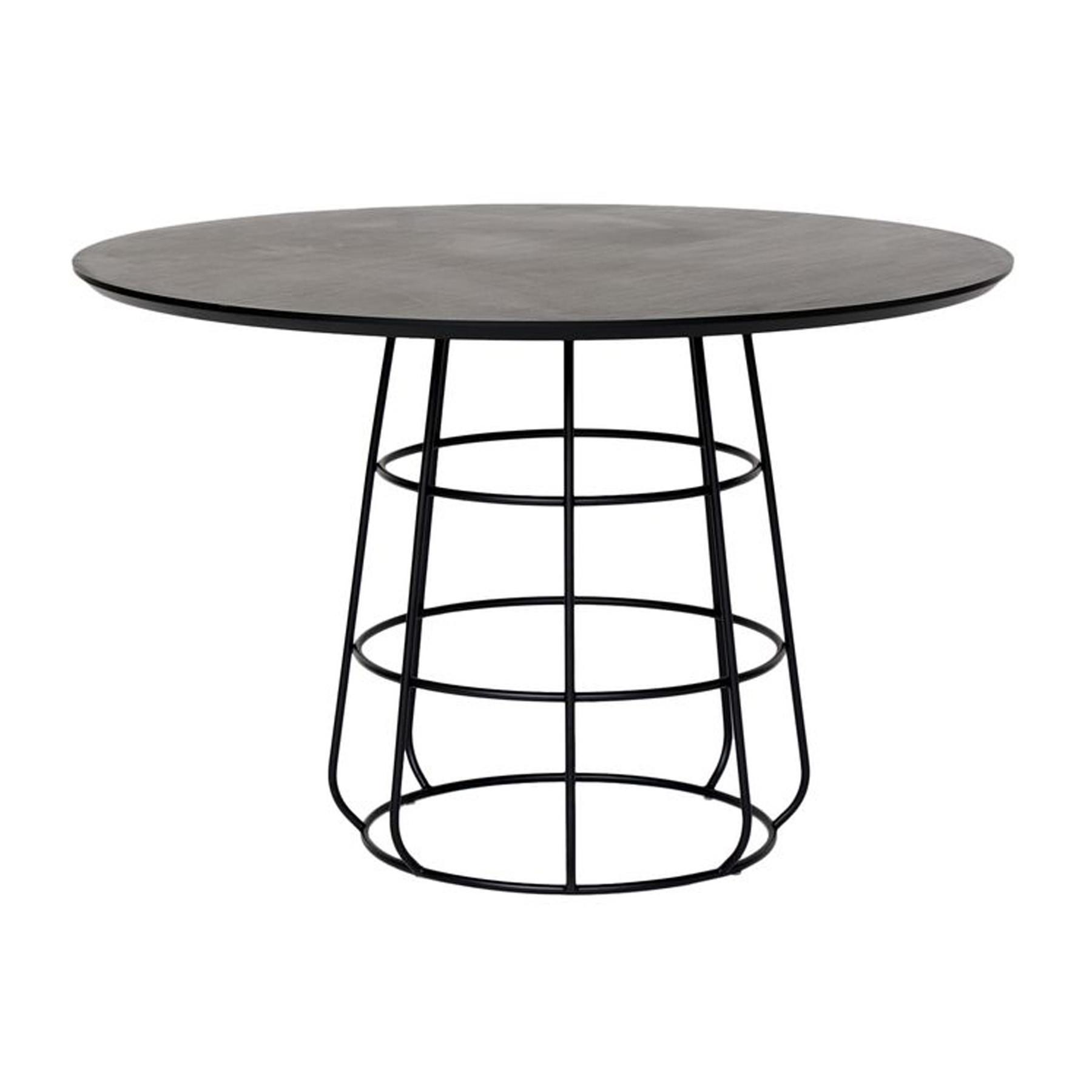 mesa de jantar redonda estilo industrial em aço carbono